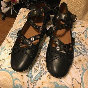 Mossimo black ankle strap ballet flats sz 11